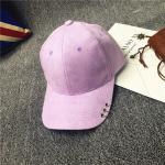 หมวกแฟชั่นเกาหลี หมวกเบสบอล พร้อมห่วงติดปีกหมวก : สีม่วง