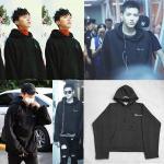 เสื้อแฟชั่นนักร้องเกาหลี เสื้อแขนยาวกันหนาว Bigbang GD KRIS EXO สีดำ XXL