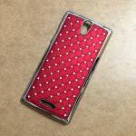 Case OPPO Mirror 3 ลายฝังเพชร สีแดง
