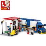 ขนส่ง (Transport) SLUBAN-0318. ตัวต่อเลโก้จีน รถบัรรทุกสินค้าพร้อมโกดัง 537 ชิ้น
