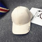 หมวกแฟชั่นเกาหลี หมวกเบสบอล พร้อมห่วงติดปีกหมวก : สีขาวครีม