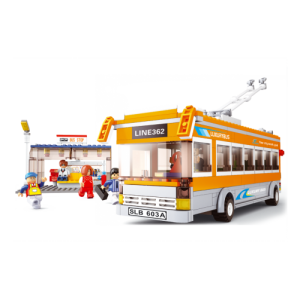 ขนส่ง (Transport) S-0332. ตัวต่อเลโก้จีน รถบัสเหลือง