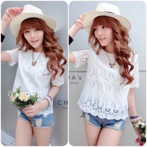 Sweetie Lace Blouse เสื้อลูกไม้สไตล์สาวหวาน : สีขาว