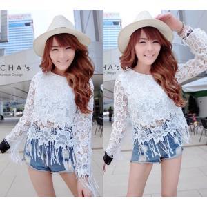 La Fringe Lace Blouse เสื้อคร็อปลูกไม้เกาหลี