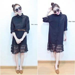 Midi Shirt Dress wt Lace Trim มิดี้เดรสปกเชิ้ตต่อชายลูกไม้ สีดำ