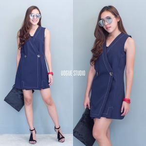 Korea Blazer Dress : เบลเซอร์เดรสสีกรม