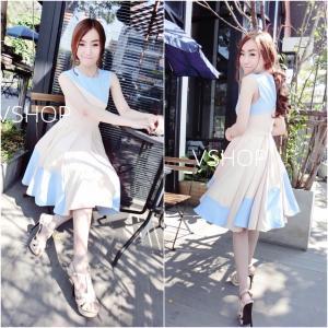 Two-tone Classy Dress เดรสสลับสีทูโทน