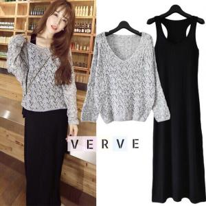 Korean Knit Top & Midi Dress Set เซทเสื้อไหมพรม +มิดี้เดรส