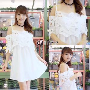 Vivi White Off-Shoulder Dress เดรสเปิดไหล่สีขาว