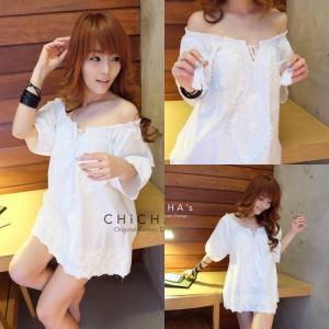 White Lita Off-Shoulder Blouse เสื้อตัวยาวแต่งลูกไม้