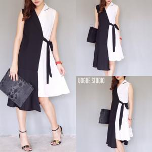 Korea Two Tone Dress : เดรสสีทูโทนสไตล์เกาหลี - สีขาวดำ