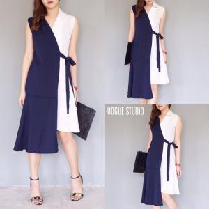 Korea Two Tone Dress : เดรสสีทูโทนสไตล์เกาหลี - สีขาวกรม