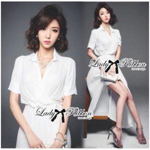 Lady Elizabeth Minimal Chic Wrap Shirt Dress Size M : เดรสเชิ้ตยาวสีขาวสไตล์มินิมัลชิค ขนาด M