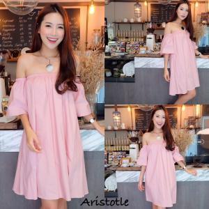 Simply Open Shoulder dress เดรสปาดไหล่ : สีชมพู