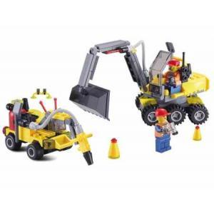 ก่อสร้าง (Construct) K-6092. ตัวต่อเลโก้จีน รถขุด + เจาะ