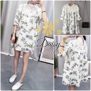Sweet Floral Dress wt Lace Shoulder