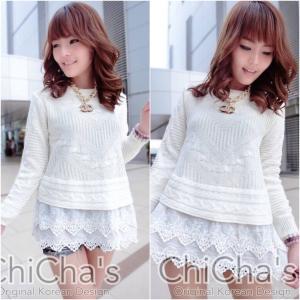 Chanel Knitting Sweater wt Double Lace เสื้อไหมพรมถักต่อชายลูกไม้ สีขาว