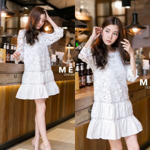 Cute Lace dress in White สีขาว