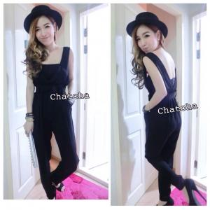So Chic V-neck Jumpsuit เอี๊ยมคอวีขายาวสีดำ
