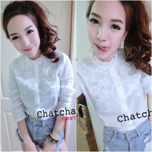 White Flowery Embroidery Shirt เสื้อคอจีนปักลายฉลุกุหลาบ