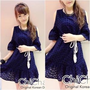Korean Cut-Shoulder Lace Dress เดรสฉลุลายเว้าไหล่ สีกรม