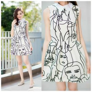 Black & White Graffiti Mini Dress