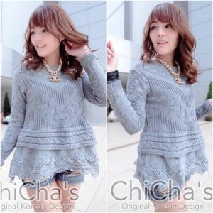 Chanel Knitting Sweater wt Double Lace เสื้อไหมพรมถักต่อชายลูกไม้ สีเทา