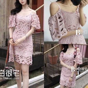 Rose Pink Lacy Off Shoulder Dress เดรสลูกไม้เปิดไหล่สีชมพู