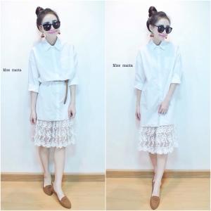 Midi Shirt Dress wt Lace Trim มิดี้เดรสปกเชิ้ตต่อชายลูกไม้ สีขาว