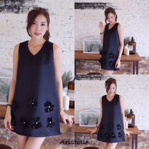 3D Flower Classy Dress – Black สีดำ