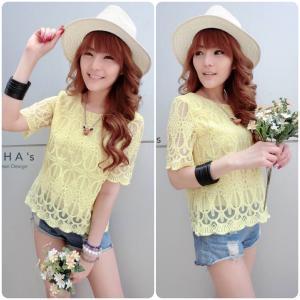 Sweetie Lace Blouse เสื้อลูกไม้สไตล์สาวหวาน : สีเหลือง