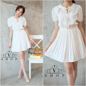 Pretty Girl Pleated Skirt Dress เดรสแขนตุ๊กตาต่อกระโปรงจีบ – สีขาว