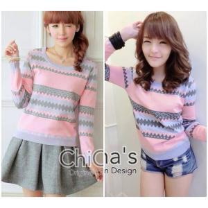 Zigzag So Sweater เสื้อสเวตเตอร์สีหวานลายซิกแซก