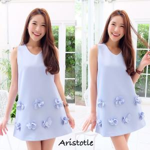 3D Flower Classy Dress – Baby Blue สีฟ้า