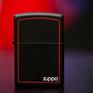 """ไฟแช็ค Zippo แท้ ดำของแดง """"Zippo 218ZB, Red Border, Black Matte """" แท้นำเข้า 100%"""