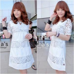 Chilla Line Lace Dress เดรสแต่งลูกไม้ สีขาว