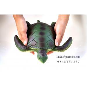 โมเดลเต่าทะเลสีเขียว ขนาด 10 นิ้ว ยางอ่อนนุ่มนิ่ม บีบได้