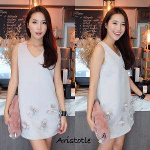3D Flower Classy Dress – Grey สีเทา