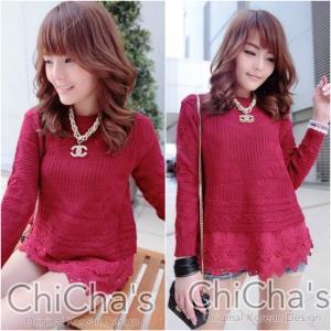 Chanel Knitting Sweater wt Double Lace เสื้อไหมพรมถักต่อชายลูกไม้ สีแดงเลือดหมู