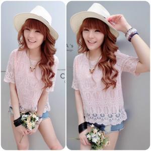 Sweetie Lace Blouse เสื้อลูกไม้สไตล์สาวหวาน : สีชมพู