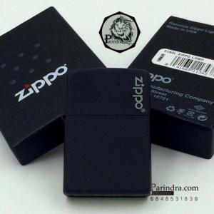 """ไฟแช็ค Zippo แท้ """" Zippo Logo Black Matte Finish Lighter """" #Zippo Code 218ZL แท้นำเข้า 100%"""