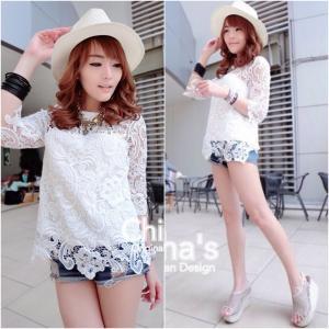 Zara Full Lace Blouse เสื้อลูกไม้แขน3ส่วน : สีขาว