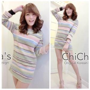 Sweet Pastel Mini Dress มินิเดรสสีหวาน ลายริ้ว