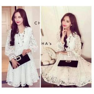 Korean White Lace Dress – เดรสลูกไม้สีขาว