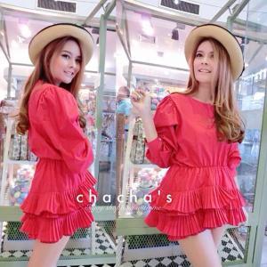 Miumiu Frilled Blouse เสื้อชายระบายอัดพลีท สีแดง