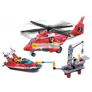 ดับเพลิง (Fire fight) E-905. ตัวต่อเลโก้จีน คอปเตอร์ดับเพลิงและเรือกู้ภัย