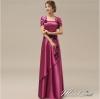 พร้อมเช่า ชุดราตรียาว สีม่วง ปิดไหล่ แต่งดอกกุหลาบจับจีบสวย ผ้าซาติน (L-5XL) *เหลือเฉพาะไซส์ 5XL*