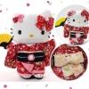 ตุ๊กตาพวงกุญแจเฮลโหลคิตตี้ กิโมโนสีแดงลายดอกซากุระ ยืนถือพัด Rare key Chain : HELLO KITTY dressed up traditional Japanese kimono ( RED ) Sakura Cherry Blossom