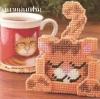 ชุดปักแผ่นเฟรมที่รองแก้วลายแมว