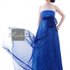Pre-order ชุดราตรียาว เกาะอก ทรงเกาหลี ผ้าโปร่งอัดพลีตสวย ปักเลื่อมหน้าอก สีน้ำเงิน